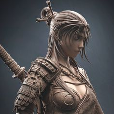 Fantasy Samurai, Fantasy Art Warrior, Samurai Art, Fantasy Girl, Zbrush Models, Arte Robot, Ghost Of Tsushima, Female Drawing, 3d Figures