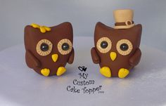 owls  - fimo sculpey polymer clay.  Place setting,  Favors. Halloween décor.