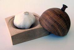 Handmade wood garlic keeper