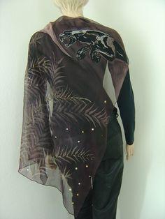 Tücher - Seidentuch Jaguar braun schwarz Malerei auf Seide - ein Designerstück von hofatelier-mode bei DaWanda