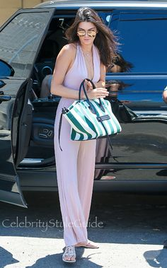 Kendall Jenner Shows Off Her Model Frame In A Plunging Pink Jumpsuit