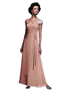 Cameron Blake 210647 Cap Sleeve Long Chiffon Mother of the Bride Dress, Apricot, 10 - Beaded Lace Cap Sleeves with Long A-Line Chiffon Layered Skirt