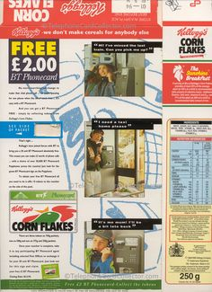 The hook for so many telephone card collectors here in the UK in Collecting tokens on Kellogg's Corn Flakes packets entitled you to claim a FREE Corn Flakes BT Phonecard. Reverse of packet Photo Scan, Marketing Information, Corn Flakes, Pick Me Up, Telephone, About Uk, How To Make, Free, Phone