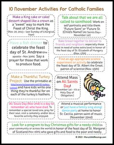 November Activities for Catholic Families Printable | ManyLittleBlessings.com