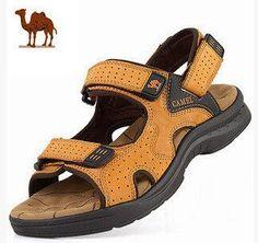 77b394f234589e Camel mens genuine leather cowhide sandals Mens Beach Shoes