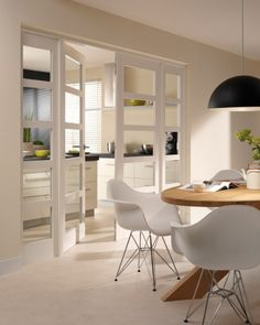 white kitchen and Chair Eames DSR Sweet Home, Dining Lighting, White Doors, Internal Doors, Kitchen Interior, Home And Living, Home Kitchens, Living Spaces, New Homes