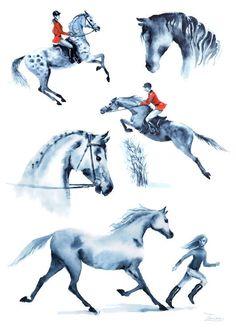 Set watercolor hand painting riders and horse. England equestrian sport. jumping horseman. JPG download. Printable digital file by ZorrinaArt horse, equestrian, equine sport, watercolor, hand painting, downable print, digital jpg, jumping, girl rider, horseback riding, England, Britain, set