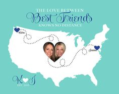 Custom Map for Best Friends  8x10 Art Print by WanderingFables, $28.99 Long Distance Friends Quote