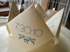 Cootie Catchers Origami Wedding Favors DESIGN ONLY by katskrafts, $50.00 We could do it ourselves.
