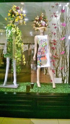 Vanessa G for our Spring Window Displays. Like the idea of using fake grass, looks realistic