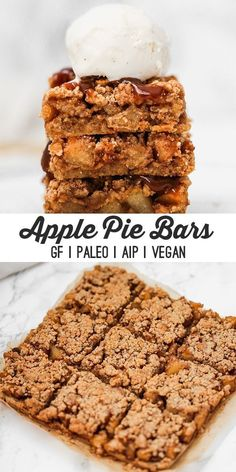 These paleo apple pie bars are perfect for fall holidays, or just a fun weekend treat! They're grain free, as well as AIP and vegan. These apple pie bars are the perfect paleo fall treat! Paleo Apple Pie, Apple Pie Bars, Paleo Apple Recipes, Paleo Apple Crisp, Healthy Apple Desserts, Paleo Sweets, Paleo Dessert, Dessert Recipes, Dessert Oreo