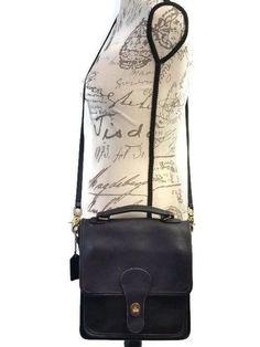 7795a21ffd Vintage COACH Willis  5130 Black Leather Crossbody Messenger Handbag Unisex  Flap Front Mini Breifcase in very good vintage condition