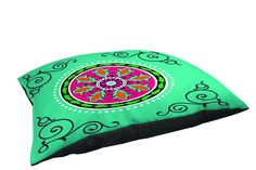 Manual Woodworkers and Weavers Fleece-Top Pet Bed, 40 by 30-Inch, Turquoise with Single Boho Medallion *** Want additional info? Click on the image. (This is an affiliate link) #DogBeds