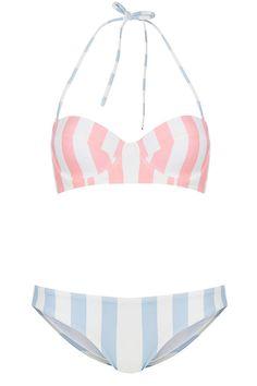 TOPSHOP Powder Pink & Blue Stripe Underwired Bikini/Swimwear
