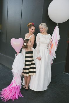 These modern bridesmaid and flower girl dresses create a unique mix and match look. The gold accents on their dresses pull the whole theme together! Wedding Flower Girl Dresses, 2015 Wedding Dresses, Flower Girls, Flowergirl Dress, Kate Aspen, Wedding Balloons, Gold Accents, Wedding Styles, Studios