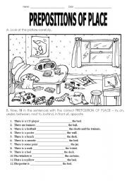 English Exercises: Prepositions of place - Revision