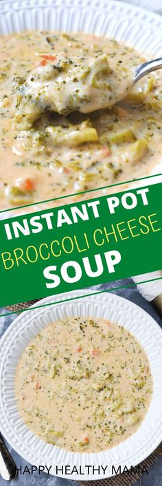 This Broccoli Cheese Soup is the BEST EVER! No one will ever guess it's lightened up! You can make it in your Instant Pot or on the stovetop!