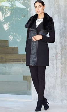 Black Label - Faux-Fur Collar Coat The perfect wintry topper. Cute colorblocking plus chic zippers? You'll be making excuses to brave the cold.