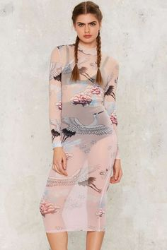 Jaded London Crane Midi Dress - Clothes | Good Sport | Midi Dresses