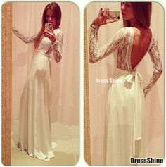 I like this - Ivory Chiffon Lace Low V Back Long Sleeves Vintage Dress. Do you think I should buy it?