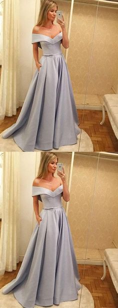 Off shoulder long prom dress, blue stain prom dress, generous A-Line prom dress