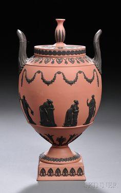Wedgwood Terra Cotta Jasper Vase and Cover, England