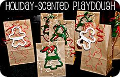 Gingerbread, Peppermint and Wintergreen scented playdough.  Add a cookie cutter and you have a cute friend present.