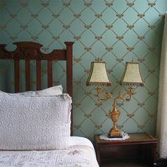 Gold and Blue wall stenciling | French Bee Trellis Stencil | http://www.royaldesignstudio.com/
