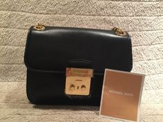 Authentic MICHAEL Michael Kors Sloan Editor Leather Shoulder Bag Black