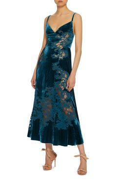 Elie Saab Velvet And Lace Slip Dress