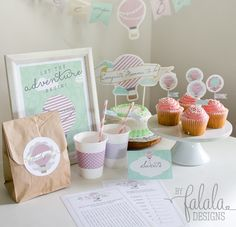"Darling- ""Up, Up and Away"" themed baby shower!  I'm in love.  It has food printables, games, decor printables, banners, and more!."