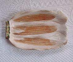 Vintage Majolica Corn Platter by vintagous on Etsy, $20.00
