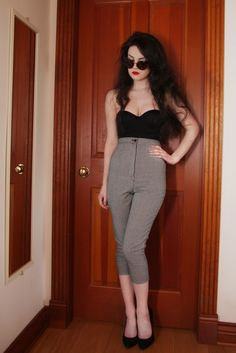 Life In Red Lipstick bustier, high waist ankle pant and high heels