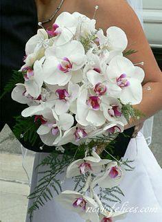 Ramo confeccionado con Orquídeas Phalaenopsis blancas en cascada, de estilo elegante y sofisticado adornado con strass
