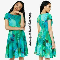 Green skater dress size 8 10 12 14 #18000 Free delivery all mth enter QWFREEDELIVERY on www.questworld.com.ng Pay on delivery within Lagos.Nationwide Delivery