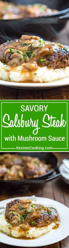 A perfectly spiced savory dinner, this Salisbury Steak with Mushroom Gravy, with an onion, mushroom gravy, is fantastic served over mashed potatoes. via @keviniscooking