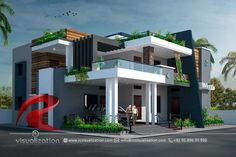 Rc Visualization is a growing Plan & Elevation Designing company. We are expert in architectural Planning, Elevation Designs, interior designs and realistic renderings. Modern Bungalow Exterior, Modern Exterior House Designs, Modern House Facades, Modern Architecture House, Architecture Plan, Modern House Design, Landscape Architecture, Architecture Foundation, University Architecture