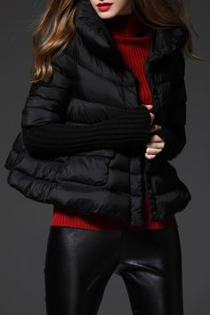 f4863524591f Knit Sleeve Down Jacket · Black Turtleneck Outfit WinterJackets For ...