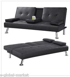 Sofa bed faux leather #cupholder cup tray #table drink #folding 3 seater black,  View more on the LINK: http://www.zeppy.io/product/gb/2/151804596092/