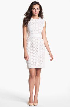 c3311521e8c Adrianna Papell Mixed Lace Cotton Sheath Dress (Regular & Petite) |  Nordstrom