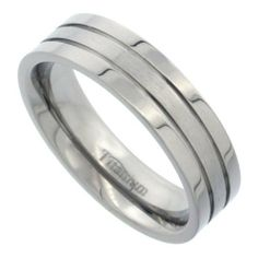Titanium 6mm Flat Wedding Band Ring 2 Grooves Matte Center Comfort-fit, sizes 7 to 14 Sabrina Silver. $13.45