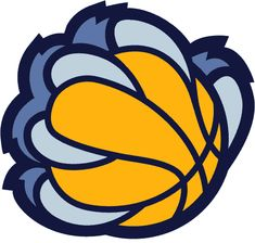 Memphis Grizzlies Alternate Logo (2005) - A blue bear claw holding a yellow basketball