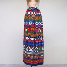 Vintage 1960s Skirt / 60s Boho Print Wrap by RanchQueenVintage, $75.00