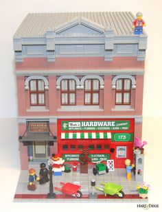Nate's Hardware by Andrea Como. Lego Tv, Lego Duplo, Old Building, Lego Building, Modele Lego, City Layout, Lego Construction, Lego Modular, Cool Lego Creations