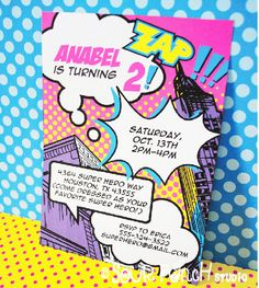 INSTANT DOWNLOAD, Super Hero Girl Printable 5 x 7 Invitation Pink, You Edit Yourself in Adobe Reader