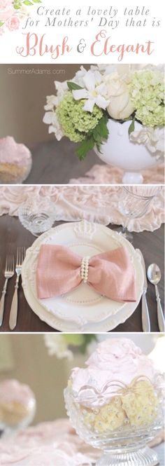 A blush & elegant Mothers Day table with bow napkins and pearls, fabulous floral, and strawberry shortcake! Join me for a Mothers' Day Tablescape to inspire the perfect luncheon in celebration of Mom! I, along with a group of bloggers, hope you find inspi