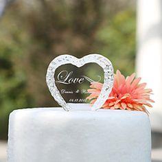cake toppers gepersonaliseerde kristallen hart cake topper