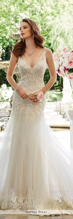 Sophia Tolli Fall 2016 Wedding Gown Collection - Style No. Rome - satin and tulle sleeveless wedding dress with lace appliqué bodice 2016 Wedding Dresses, Wedding Gowns, Tulle Wedding, Chapel Wedding, Wedding Bells, Wedding Bride, Glamour, Fit And Flare Wedding Dress, Drop Waist Wedding Dress