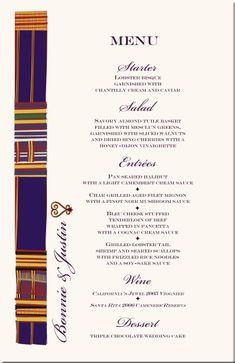 Africa dishes | African American Wedding Menu Cards-African Cultural Symbols-African ...