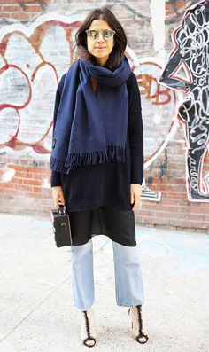 Leandra Medine of Man Repeller wearing straight leg jeans